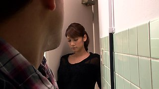 Marvelous babe giving her gentleman superb blowjob in the toilet