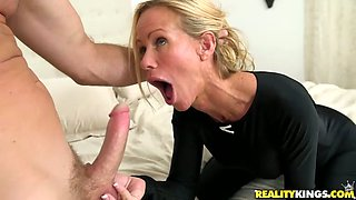 Young lover fucks sexy milf wearing body suit while her husband is on a business strip