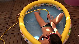 Two cute Spanish girls get their freak on in their min pool