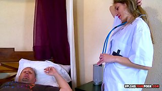 Sexy nurse takes care of his hard pecker