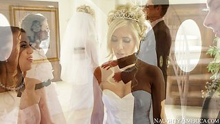 Sexy bride Tasha Reign kisses passionately at the wedding