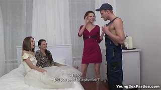 Bride and bridesmaids fuck plumber stripper on the wedding day