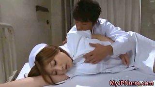 Asian nurse has sex in the hospital