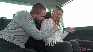 Blonde babe Angel fucked in a car after peeing on the street