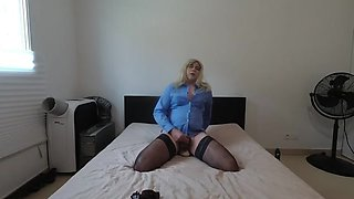 Blue shirt crossdressing