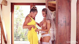 Bride wearing stockings goes lesbian with her bridesmaid