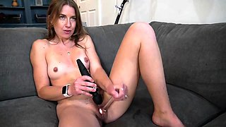 Crazy emo with small breast stimulates her clit with 2 toys