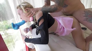 Nasty young hottie gets dominated by tattooed stud