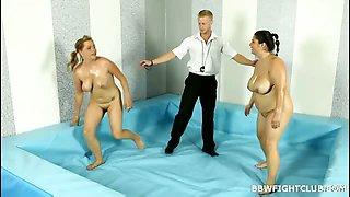 Naked & oiled BBW wrestling