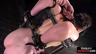Bound bdsm subject fucked by dominant dildo and vibrator