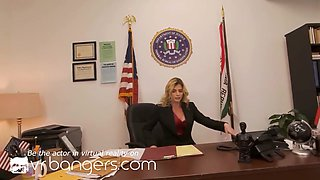 VR BANGERS Experienced blonde MILF agent knows how to force you to cooperation