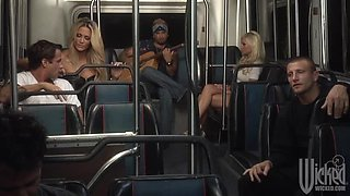 Blonde MILFs Angelina Ashe and Jessica Drake Give Blowjobs In Public