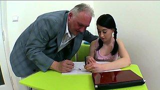 Horny older teacher bonks naughty chick senseless