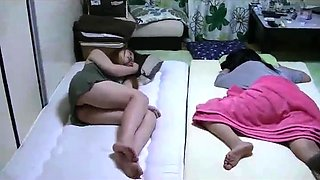 Sleeping Japanese teen gets her tight slit fingered in POV