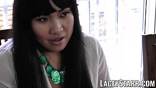 LACEYSTARR - Business GILF tongue examines young pussy