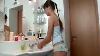 Cute slim russian girl fucks in the bath
