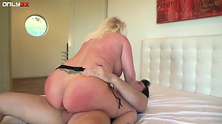 Perfectly packed blonde babe Angel Vain doesn't mind being anal banged