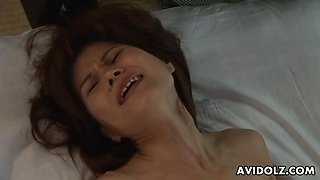 Cute Asian babe getting her boss off with her pussy