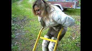 Sasja in muddy white thigh boots (part 3)!!!