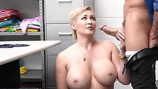 Thick blonde MILF was caught shoplifting by a perverted cop