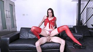 Innocent boy cheats on girlfriend with her slender stepmother