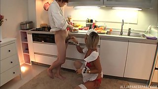 Sexy Aika pounded hardcore doggystyle in the kitchen