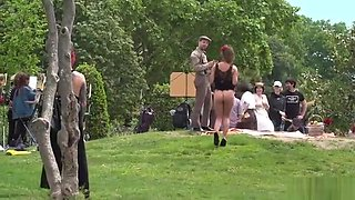 Butt naked slave walked in the park