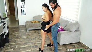 Sporty sexy busty babe Camila Valdovino dreams of riding strong cock