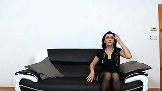 Hornt elder woman Marta stockings high heels and facesitting