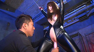 Aoi is a tied up babe in latex craving a forced orgasm