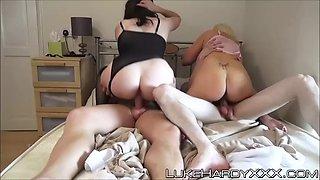 busty uk milfs in sexy lingerie slammed in rough foursome