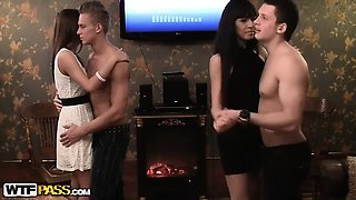 Passionate fuck with college party girls