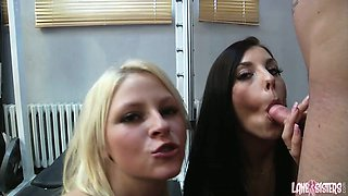 Filthy sexy chicks Roxy Lane and Jessica Diamond share one tasty penis