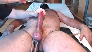 I hung milk hairy friend - big balls tied to the bed