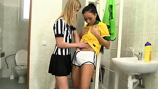 Young blonde hard anal Brazilian player porking the referee
