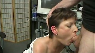 This office slut does a beautiful job of swallowing her colleague's cock