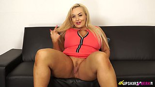 Chubby blonde hoe Jem Stone exposes her yummy shaved cunt