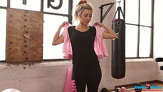 Naughty blond chick Louise strips during boxing workout