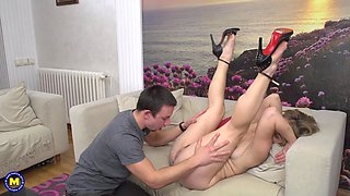 Short haired mature MILF Alana R. pounded doggy style on the couch