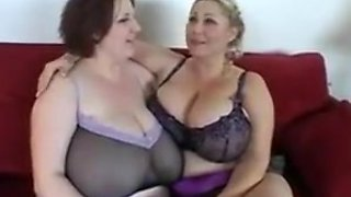 Pair of massive tit fatties get porked