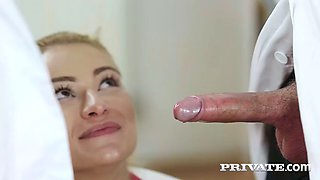 a doctor is having fun with nikky thorne and cherry kiss in a hospital