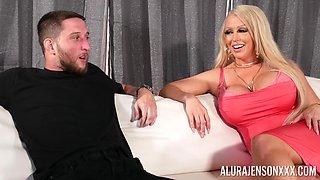 Mature pornstar Alura Jenson gives an amazing titjob to a big dick