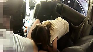 Naughty Japanese babe gives a fabulous blowjob in the car