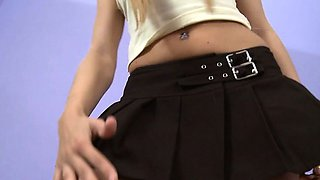 Sofia teases with her white cotton panties upskirt and her