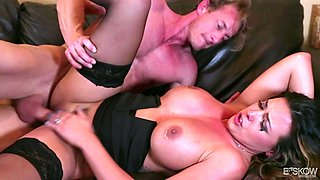 Stunning brunette Danica Dillon lets a hunk eat her cunt before a fuck