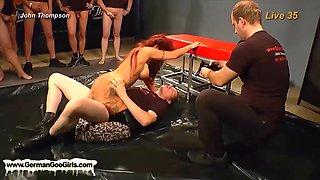 Hot redhead going wild in bukkake orgy