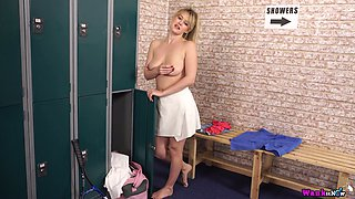 Natural light haired chick Brook Little exposes and plays with her tits