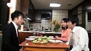 Slutty Oriental housewife turns her husband into a cuckold