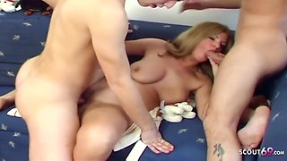 Stepson And His Friend Seduce Mom For 3some