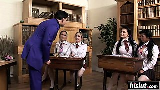 Desirable schoolgirls get a bit of discipline